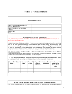 Section 6: Technical Bid Form - Procurement Notices