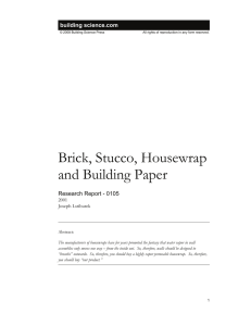 Brick, Stucco, Housewrap and Building Paper