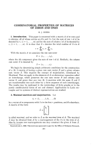 combinatorial properties of matrices of zeros and ones