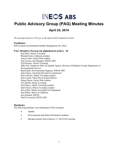 Public Advisory Group (PAG) Meeting Minutes