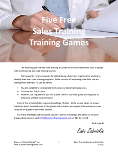 Five Free Sales Training Games and Activities