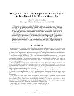 Design of a 2.5kW Low Temperature Stirling Engine for Distributed