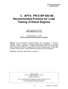 Recommended Practice for Load Testing of Diesel Engines