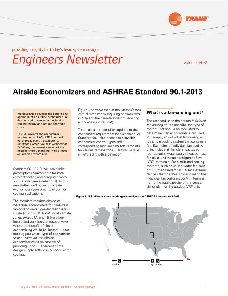 Airside Economizers and ASHRAE Standard 90 1-2013