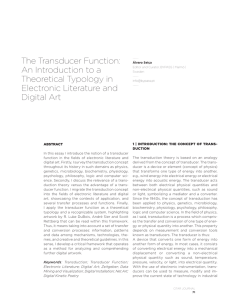 The Transducer Function: An Introduction to a Theoretical Typology