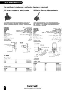 Clarostat Rotary Potentiometers and Position Transducers (continued)