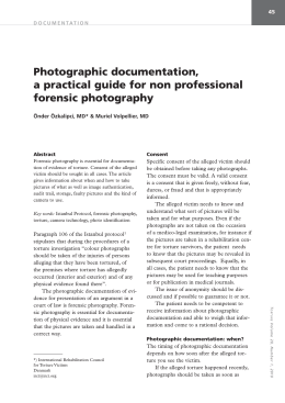 Photographic documentation, a practical guide for non professional