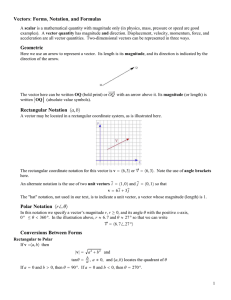 Vectors: Forms, Notation, and Formulas Geometric Rectangular