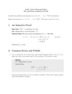 1 An Inductive Proof 2 Common Errors and Pitfalls