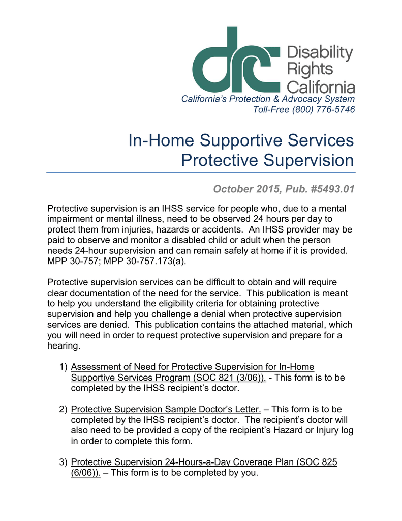 In-Home Supportive Services Protective Supervision