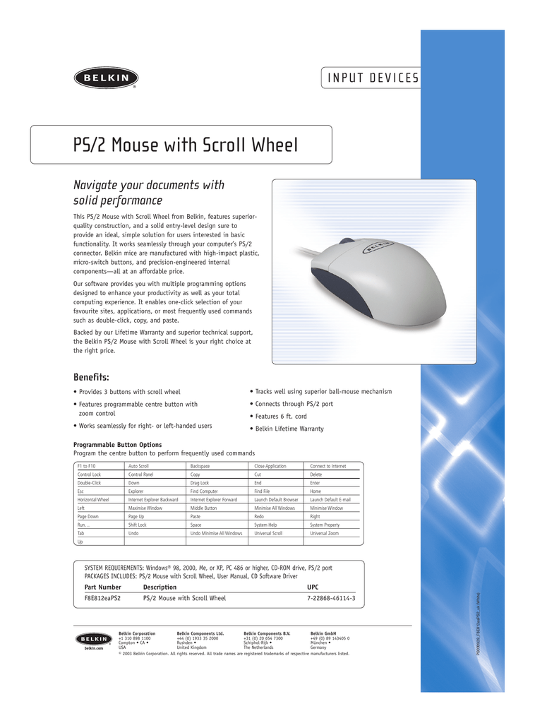 PS/2 Mouse with Scroll Wheel
