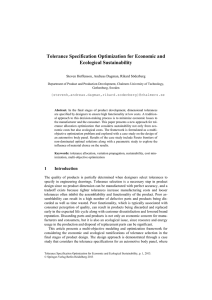 Tolerance Specification Optimization for Economic and Ecological