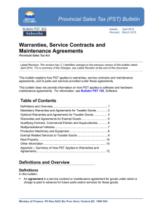 Warranties, Service Contracts and Maintenance Agreeements
