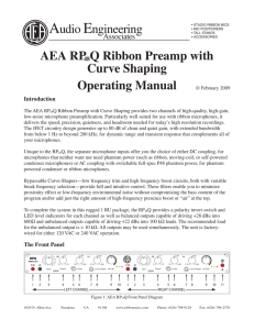 AEA RP48Q Ribbon Preamp with Curve Shaping Operating Manual