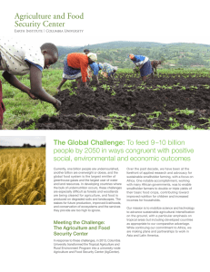 The Global Challenge: To feed 9–10 billion people by 2050 in ways