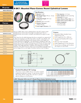 t N-BK7: Mounted Plano-Convex Round Cylindrical Lenses