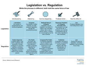 Legislation vs. Regulation