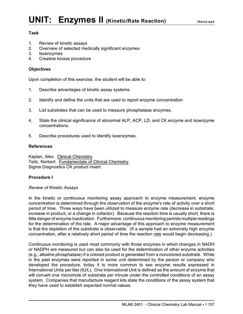 determining cofactors of enzymes lab report