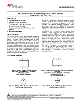 LM134/LM234/LM334 3-Terminal Adjustable Current Sources (Rev. E)