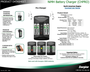 NiMH Battery Charger (CHPRO) - Energizer Technical Information