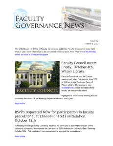 Faculty Governance News v 8.2, October 3, 2013