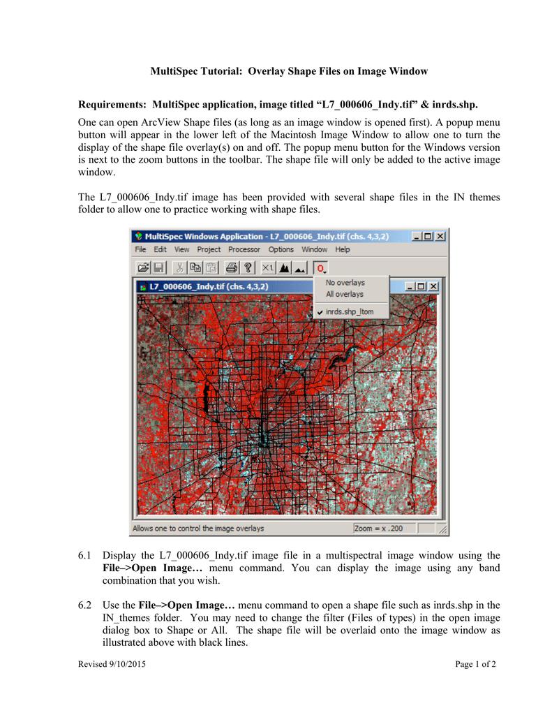 MultiSpec Tutorial: Overlay Shape Files on Image Window