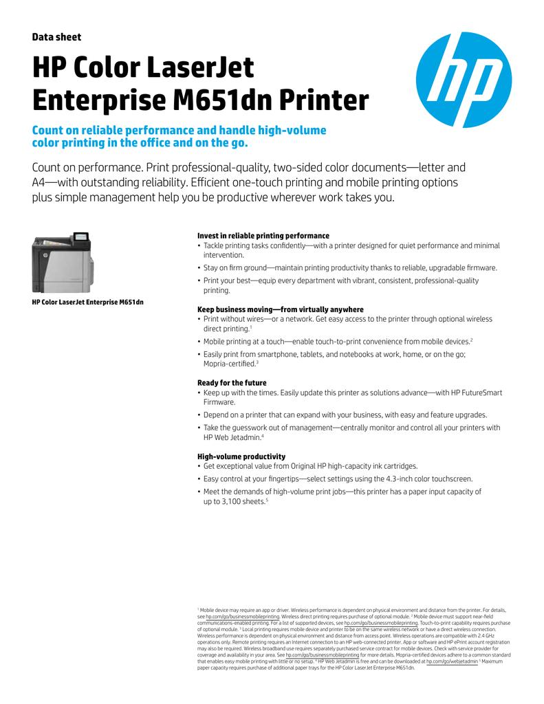 Data sheet | HP Color LaserJet Enterprise M651dn Printer