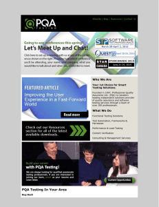 PQA Testing March Newsletter