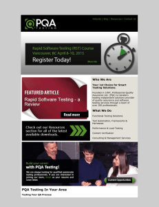PQA Testing February Newsletter