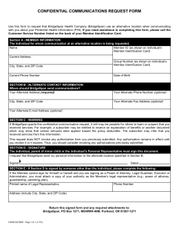 CONFIDENTIAL COMMUNICATIONS REQUEST FORM