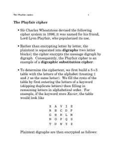 The Playfair cipher • Sir Charles Wheatstone devised the following