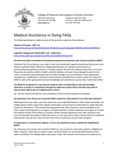 Medical Assistance in Dying FAQs