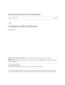 Limitations of the Lie Detector - Scholarly Commons