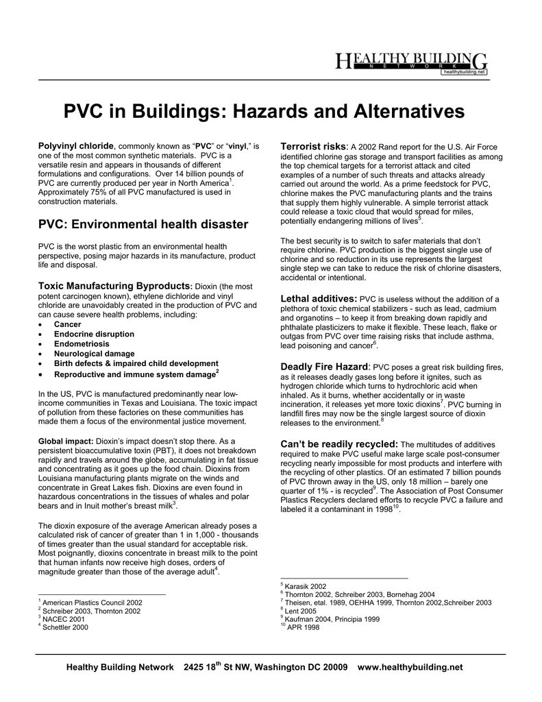 PVC in Buildings: Hazards and Alternatives