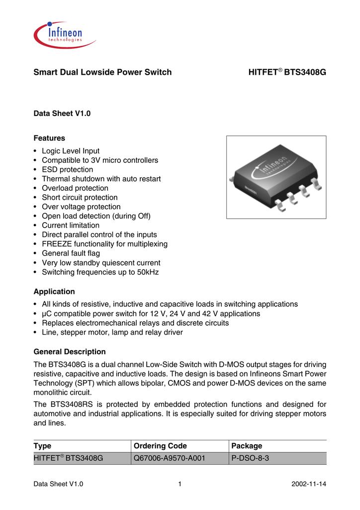 Smart Dual Lowside Power Switch HITFET BTSG - Electromechanical relay logic