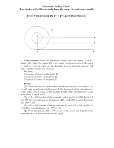 Geometric Fallacy Proof: Two circles with different radii have the