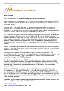 Media Release Don`t turn your back on people living with Autism