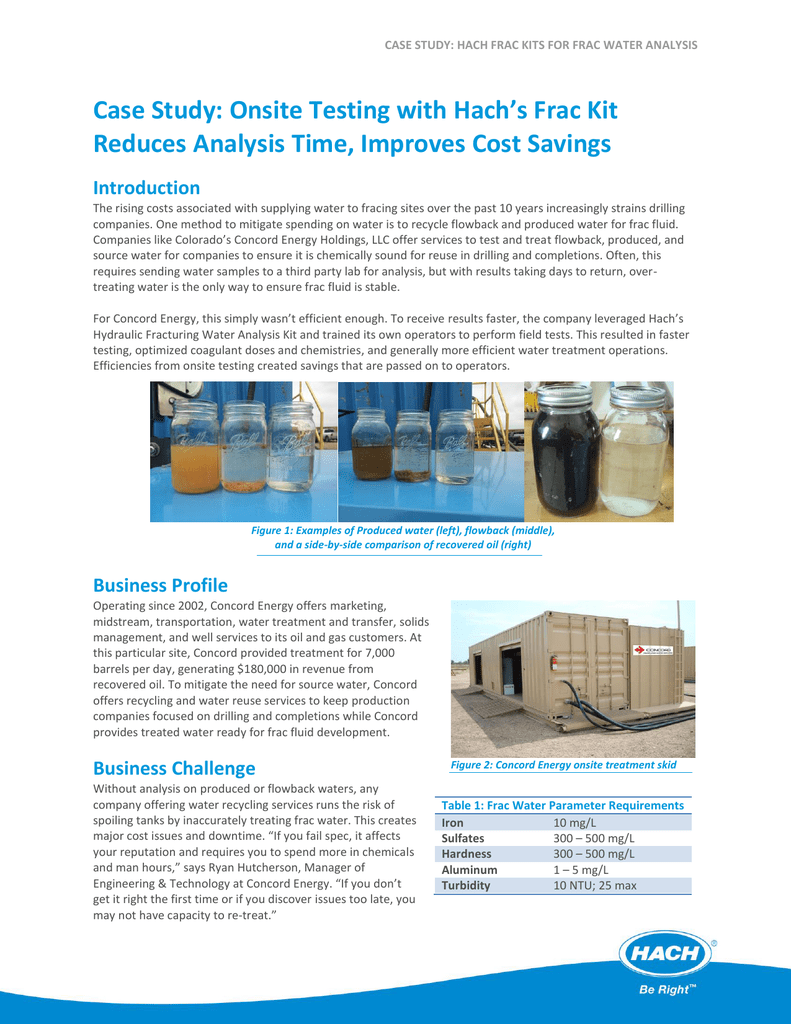 Case Study Onsite Testing With Hachs Frac Kit Reduces Analysis