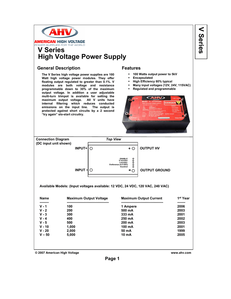 V Series High Voltage Power Supply 3000v