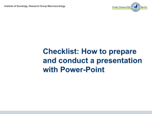 Checklist: How to prepare and conduct a presentation with Power