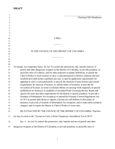 License to Carry a Pistol Temporary Amendment Act of 2014