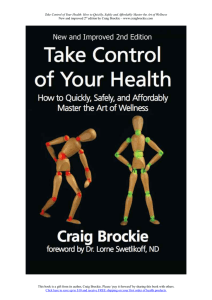 Take Control of Your Health: How to Quickly, Safely and Affordably