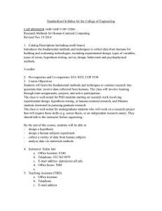 Standardized Syllabus for the College of Engineering CAP 4930