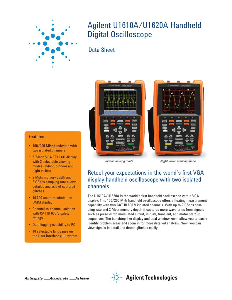 Agilent U1610A/U1620A Handheld Digital Oscilloscope