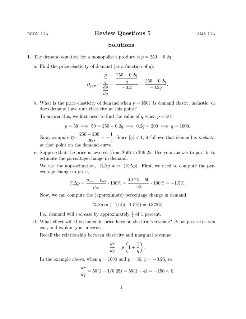 Review Questions 5 Solutions