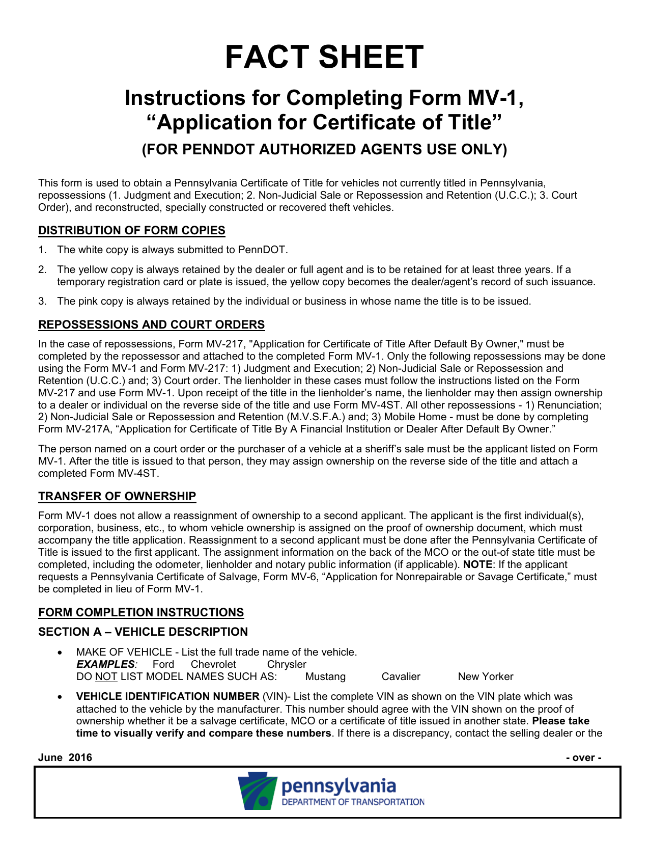 PennDOT Fact Sheet - Instructions for Completing Form MV-1