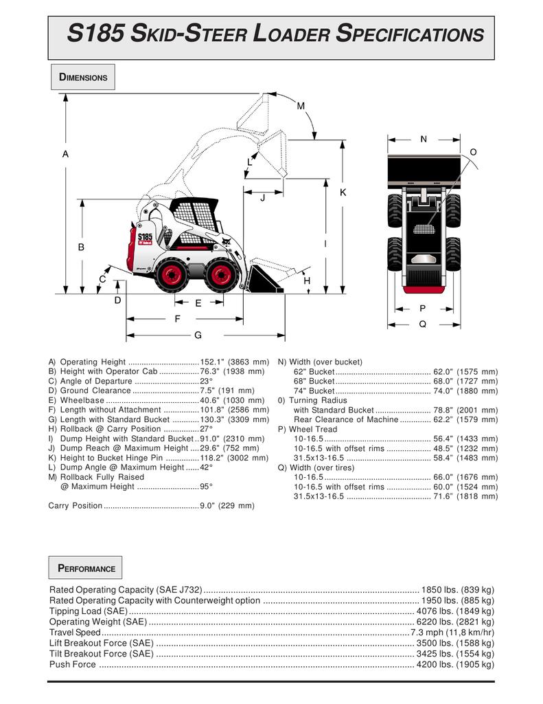 S185 Skid Steer Loader Specifications