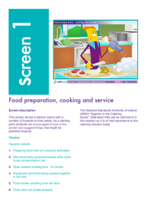 Food preparation, cooking and service