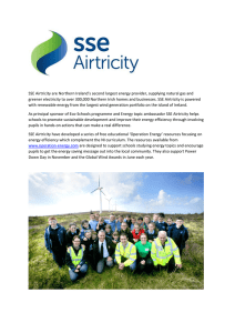 SSE Airtricity are Northern Ireland`s second largest energy provider