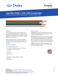Type RHH / RHW-2 / USE-2 EPR Insulated Wire